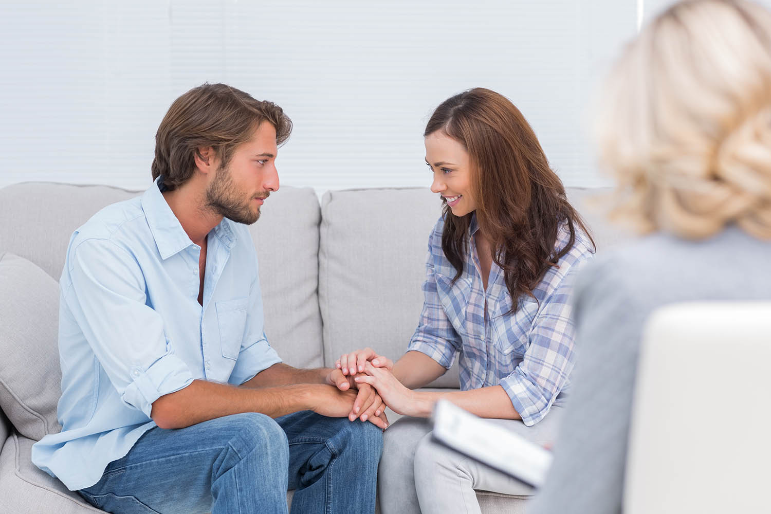 Couple during marriage counseling and therapy